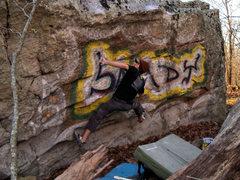 "Rock Climbing Photo: Aaron Parlier on the gaston move in ""Sandy Sl..."