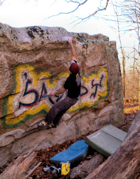 "Rock Climbing Photo: Aaron with the stick on ""Sandy Slap (Center)&..."