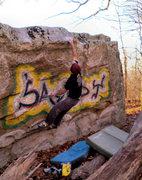 "Rock Climbing Photo: Aaron with the stick on ""Sandy Slap (Center)&..."