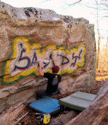 "Rock Climbing Photo: Aaron Parlier on the start to ""Sandy Slap (le..."