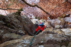 Rock Climbing Photo: Laura scraping for the right hold on Season Finale...