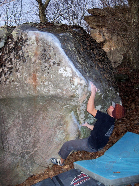 """Aaron Parlier sticking the first of the grizzly sloper-pinches on the FA of """"Secant Line"""" (V-7)"""