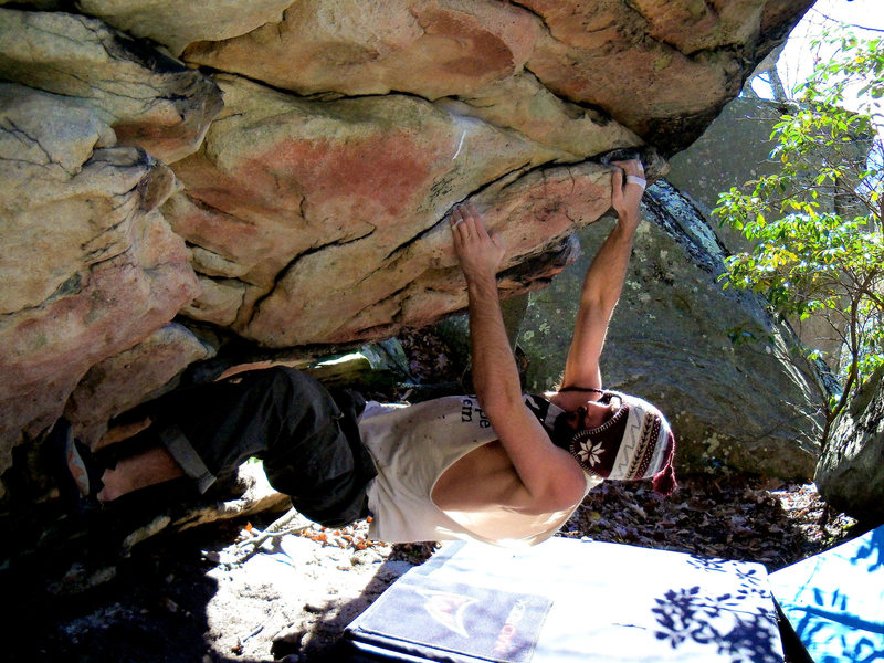 "Rock Climbing Photo: Steve Lovelace on ""Coho"" (V-3)"