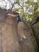Rock Climbing Photo: Dan working the top of 12a.