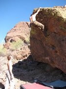 Rock Climbing Photo: Topping out Milky.