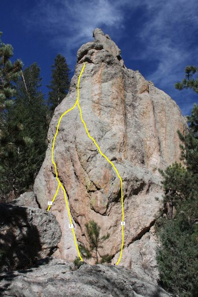 Rock Climbing Photo: Routes left to right: The Match-Up variation (1), ...