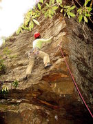 Rock Climbing Photo: Huong gets a breather after pulling the overhangin...