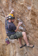 Rock Climbing Photo: Geir finessing the moves on his redpoint.