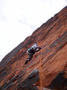 Rock Climbing Photo: Mary leading Sacred Undergarment