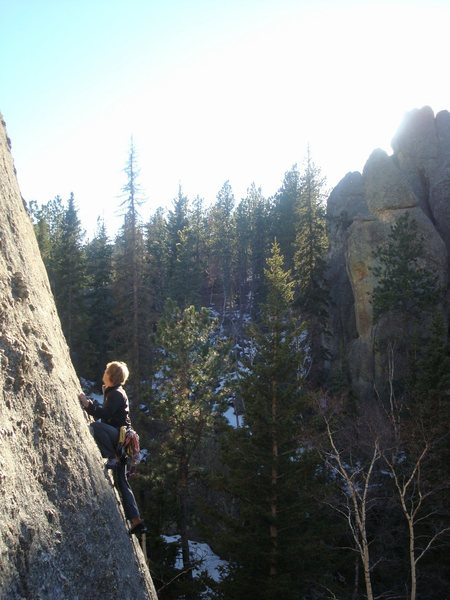 Nutcracker suite from top of Innercourse boulder. Where's all the bolts? (Photo by Jena Lee)