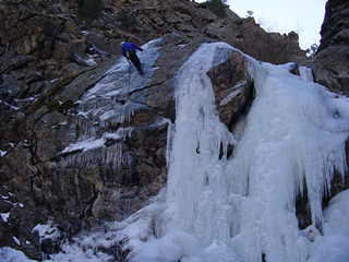 """Mike rappin' after the 1st ascent of """"Moonshine""""."""