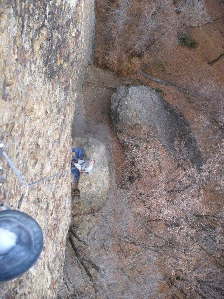 Rock Climbing Photo: Looking down from the top of the 10d.
