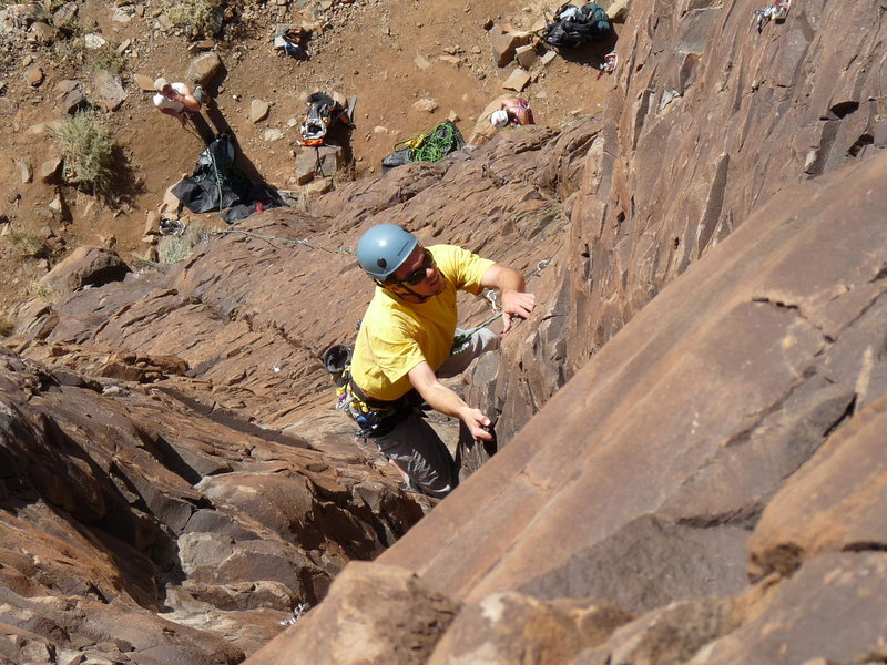 Rock Climbing Photo: Lee staying focused on the goal above the crux. No...