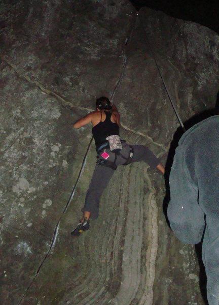 Rock Climbing Photo: climbing black jack via headlamp.
