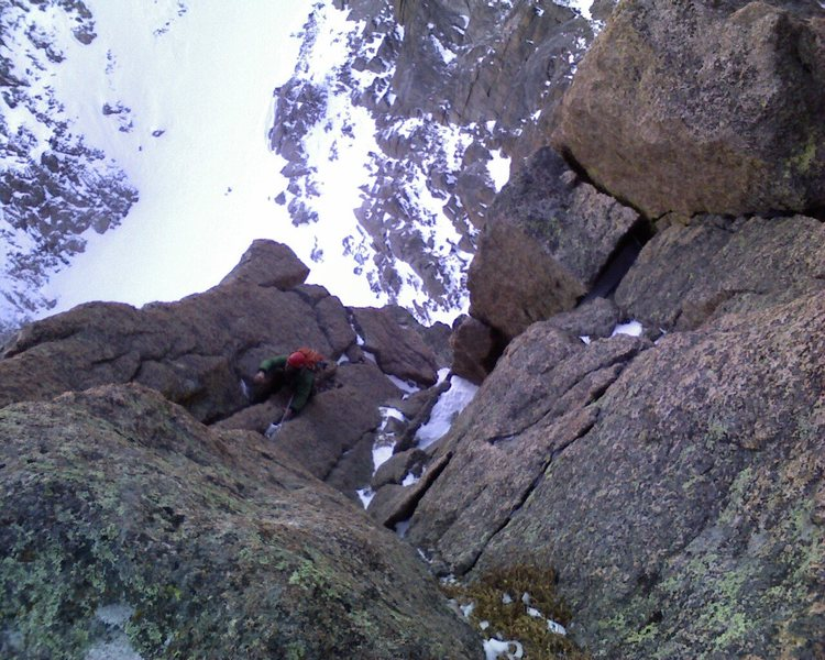 Is it Colorado or Patagonia?  Chris Reinholt midway up pitch 4 of Zumie's Thumb on 11-7-09.