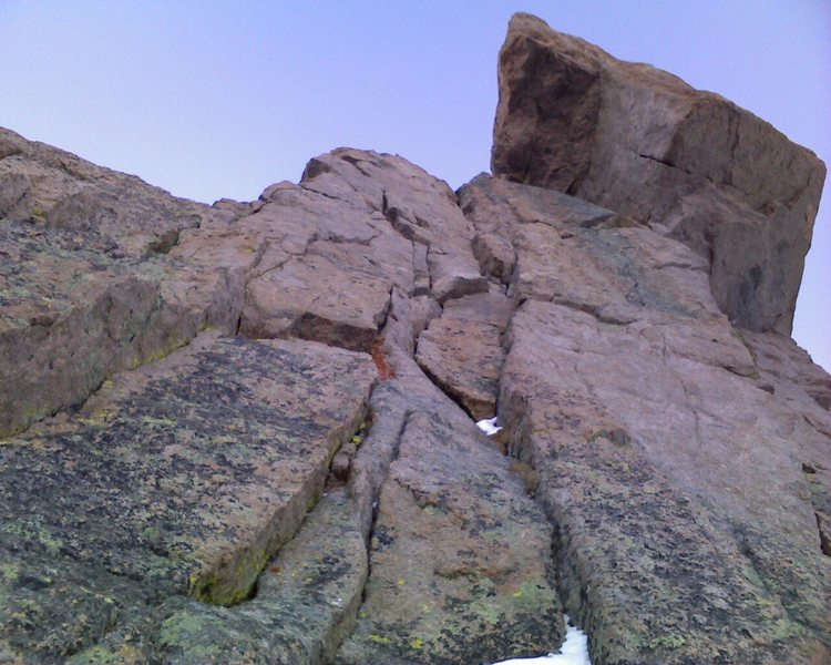The crux headwall of Zumie's Thumb.  Splitter cracks in great rock lead to an incredible summit block.  Photo by Chris Sheridan.