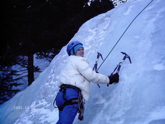 Rock Climbing Photo: Nancy's second ice climb. 12/31/07 date stamp on p...