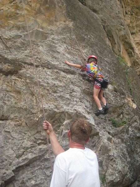 Rock Climbing Photo: Rifle CO,  doin' the mash potato 5.8