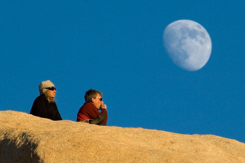 Rock Climbing Photo: Climbers and Fall Moon Atop Chimney Rock