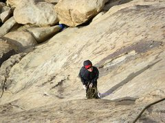 Rock Climbing Photo: Hanging out in 20-30 mph Winds ... brrrr!