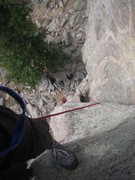 Rock Climbing Photo: Looking down at belayer from halfway up Malign.
