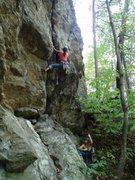 Rock Climbing Photo: Alex on Jederman start (Trad, 5.8+)