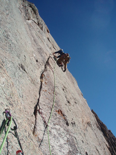 Cheyenne leading the third pitch finger crack.