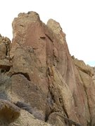 Rock Climbing Photo: View from afar. Trevor is at the anchors to Cather...