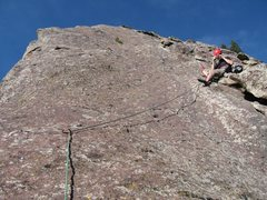 Rock Climbing Photo: P1-2 belay ... view up P2.