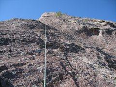 Rock Climbing Photo: P3 crux headwall ... runout above.
