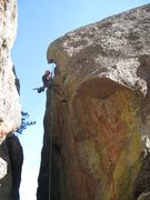 Rock Climbing Photo: Rick Blair on rappel over the overhang and into th...