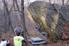 Rock Climbing Photo: Ellen cranking on BD.