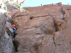 Rock Climbing Photo: Jeff in the wide part of El Throaty, I'm on top, H...