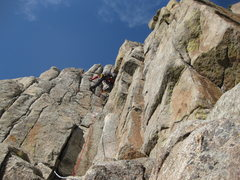 Rock Climbing Photo: At the crux move looking down.  Photo by Brad Cunn...