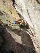 Rock Climbing Photo: Dan Long on the final moves of Calypso.