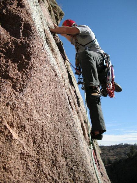 Rock Climbing Photo: 2nd pitch of Wind Ridge, Eldorado Canyon.  Just of...