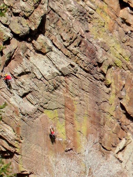 Rock Climbing Photo: Lynn Hill on Rainbow Wall, South Face , Wind Tower...