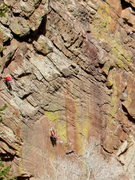 Rock Climbing Photo: Lynn Hill on Rainbow Wall, South Face , Wind Tower...