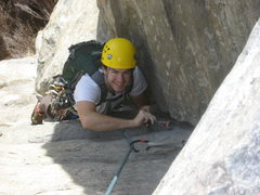 Rock Climbing Photo: Me cleaning at neat rock on the standard route in ...