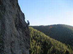 Rock Climbing Photo: rappeling off fat mans wall in bozeman pass