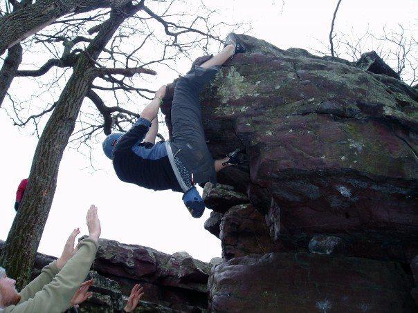 bouldering at Devil's Lake ,Wisconsin