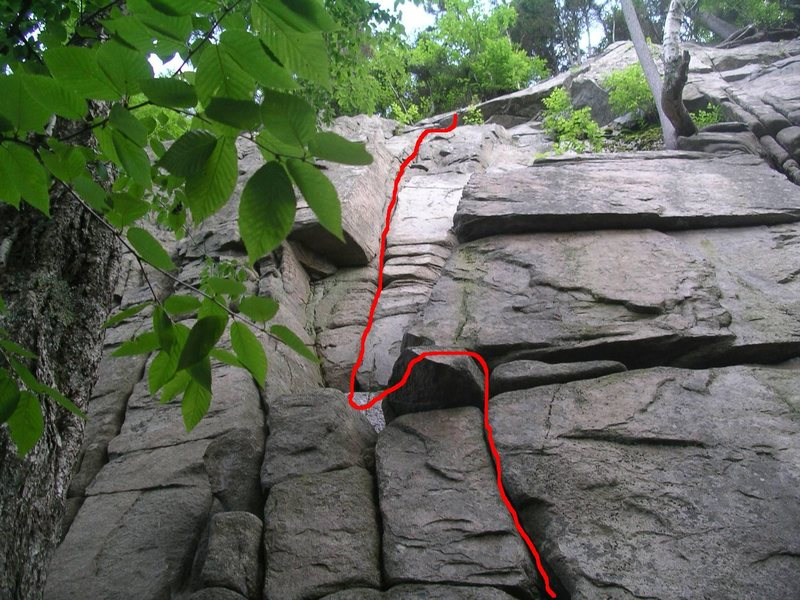 """Rock Climbing Photo: My first ever Trad Lead, the 5.5 """"Maiming of ..."""
