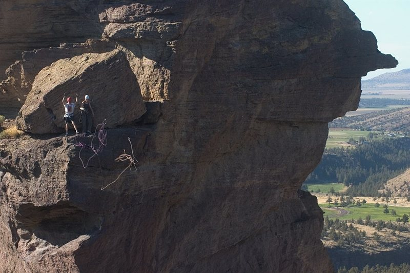Rock Climbing Photo: Tossing the rope from the Rap. Two 60M will get yo...