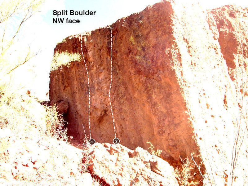 Split Boulder- NW face<br> <br> 1 Cobblestone Corridor V1<br> 2 Long Way Home V1