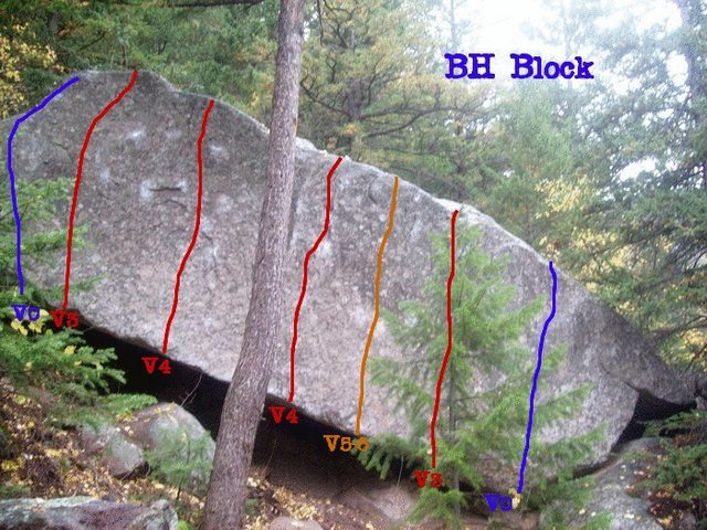 Rock Climbing Photo: Topo for BH Block, a lip traverse also exsists, an...