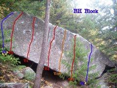 Rock Climbing Photo: Topo for BH Block, a lip traverse also exsists, an...