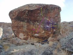 Rock Climbing Photo: Route guide pic. - Yellow is Corner Cafe, Purple i...