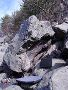 Rock Climbing Photo: Climbs up corner of boulder to lip at right.