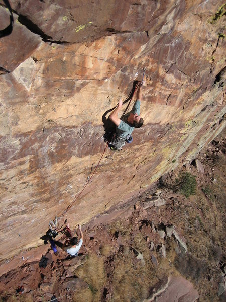 Scott Bennett at the second clip with Rob Kepley belaying.