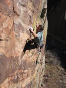 Rock Climbing Photo: Scott Bennett bearing down just past the third cli...